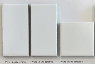 Color: White  (Glossy Ceramic; Matte Ceramic; Matte Porcelain)